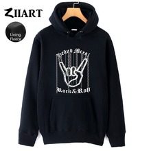 Chain Hand Gesture Heavy Metal Rock N Roll Corna Devils Horns Sign Couple Clothes Autumn Winter Fleece Man Boys Hoodies ZIIART