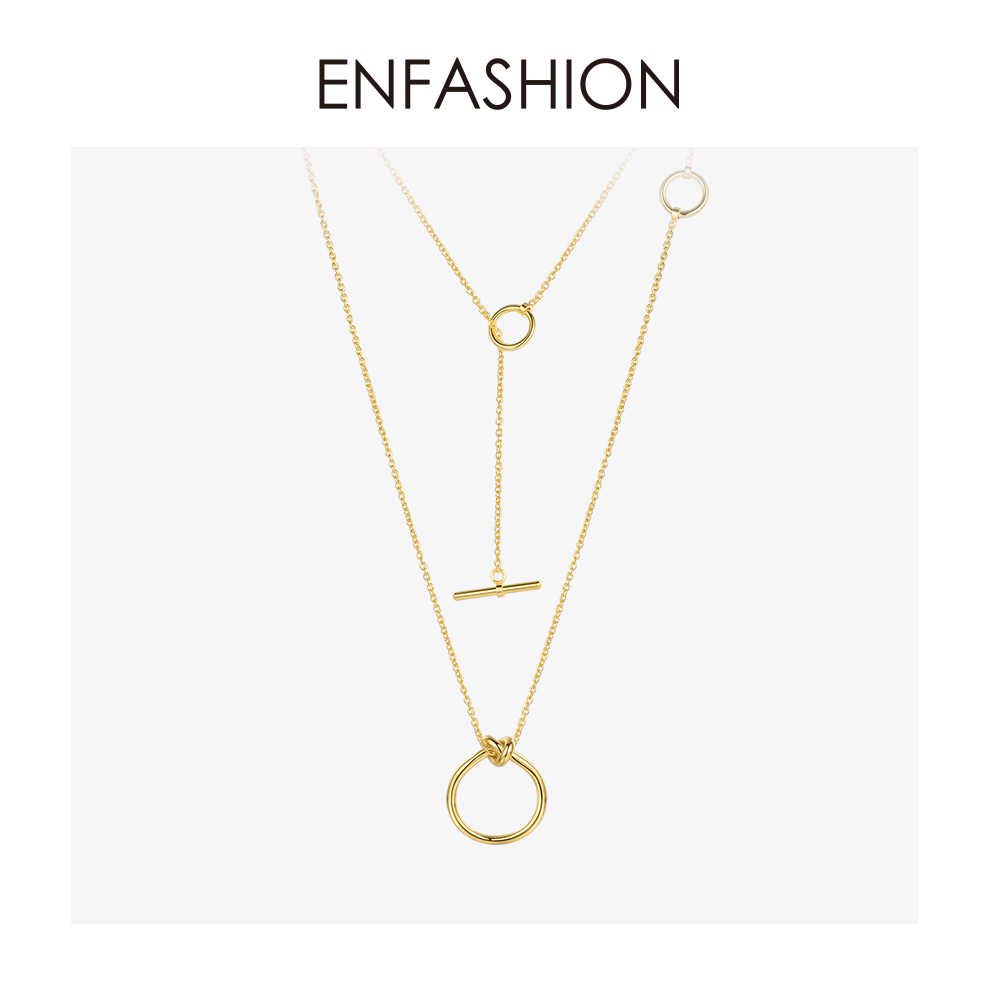 Enfashion Classic Knot Pendants Necklaces Stainless Steel Gold color Choker Necklace For Women Long Chain Jewelry Collier