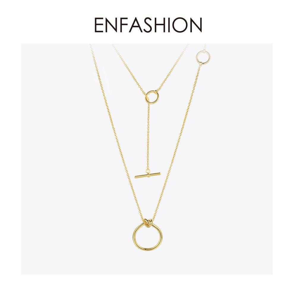 Enfashion Clássico Nó Pingentes Colares Colar Gargantilha Para As Mulheres de Cadeia Longa da cor do Ouro de Aço Inoxidável Jóias Collier