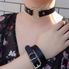 Hot Punk Harajuku Collar Choker Necklace Kit head PU Leather Choker Punk Goth 100% Handmade Neck Bracelet animal Jewelry(China)