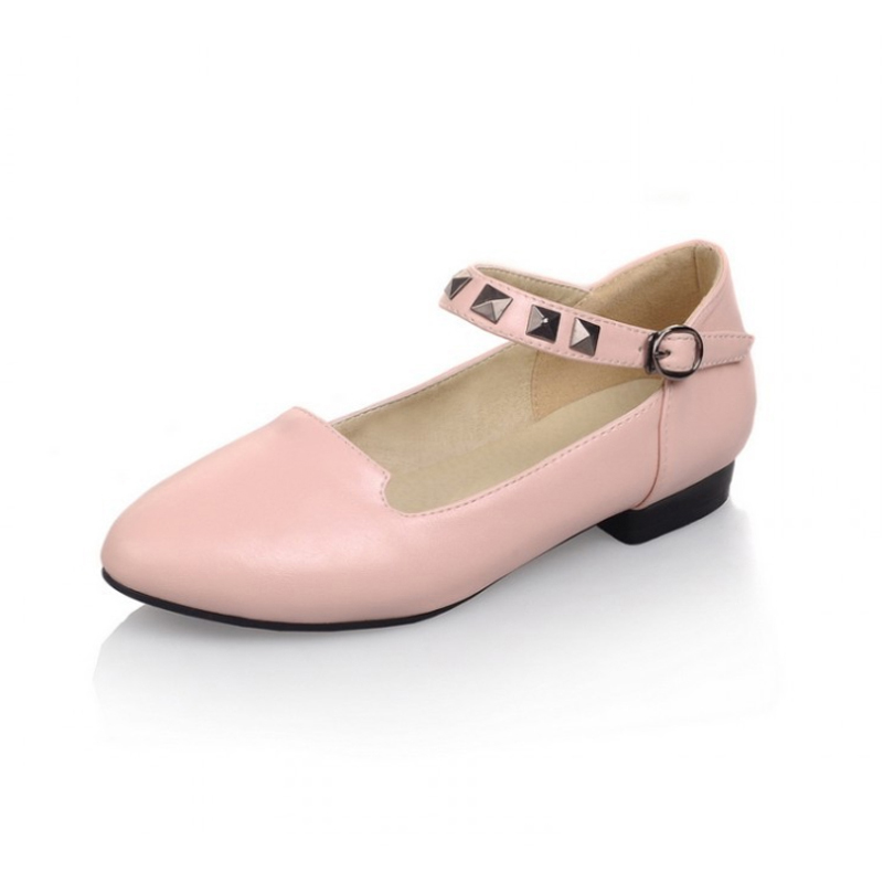 New women shoes Solid flats shoes fashion Rivets Round Toe students shoes Spring Autumn Comfortable Casual Buckle Strap Shoes spring autumn solid metal decoration flats shoes fashion women flock pointed toe buckle strap ballet flats size 35 40 k257