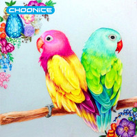 Square 3D DIY Diamond Painting Cross Stitch Colorful Bird Diamond Embroidery Two Birds For Home Decoration