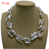 17 inches 20 40mm Natural Pink Thick Hook Shaped Baroque Biwa Pearl Necklace