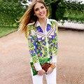 2016 Printed Chiffon Blouse Shirt Long Sleeve Off Shoulder Turn Down Collar Geometric Pattern Print Shirts Women Casual Tops