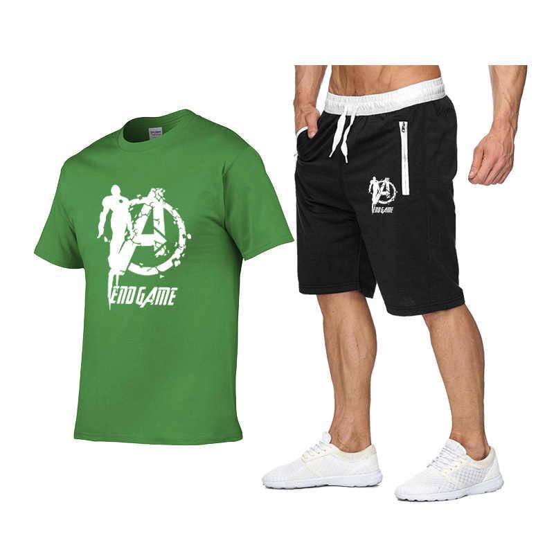 夏セット男性因果ビーチスーツ半袖ショーツ ENDGAMEiron ManSweatsuit + パンツファッショントラックスーツメンズ Sportsuits tシャツ + S
