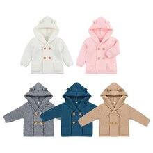 Вязаный кардиган для маленьких девочек; однотонные осенне-зимние свитера для детей; пальто с капюшоном и длинными рукавами; Верхняя одежда; одежда для детей