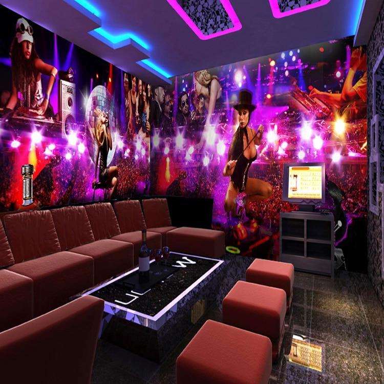 Custom photo wallpaper 3d cool music dance girl wine mural for Living room karaoke