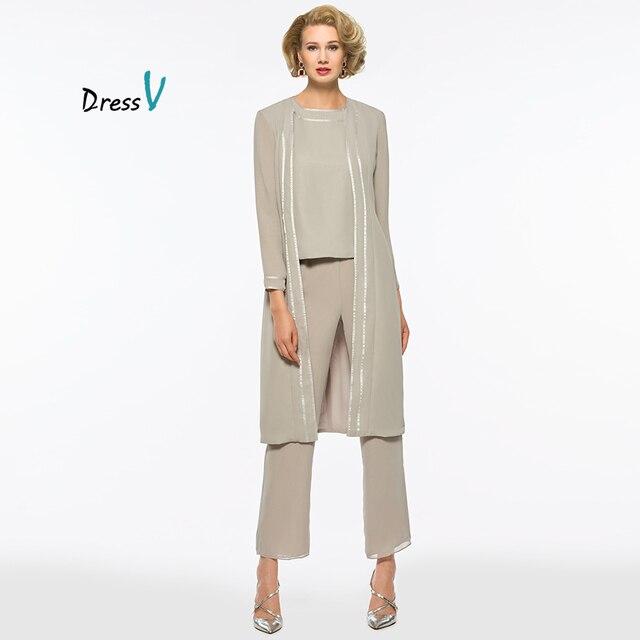 db0ef69aca600b Dressv sliver 3 stuks moeder van de bruid broek pak met lange jacket lange  mouwen voor