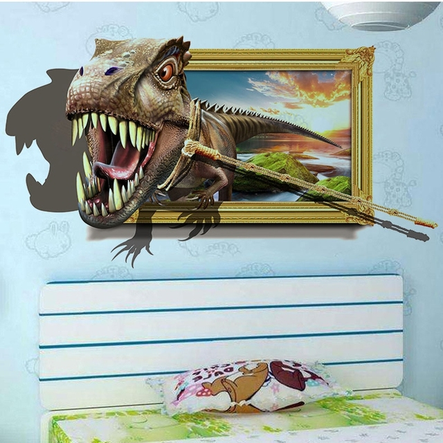 Dinosaurs 3D Wall Sticker home decoration cartoon Kid living room Art Decal WallPaper mural Poster Vivid & Dinosaurs 3D Wall Sticker home decoration cartoon Kid living room ...