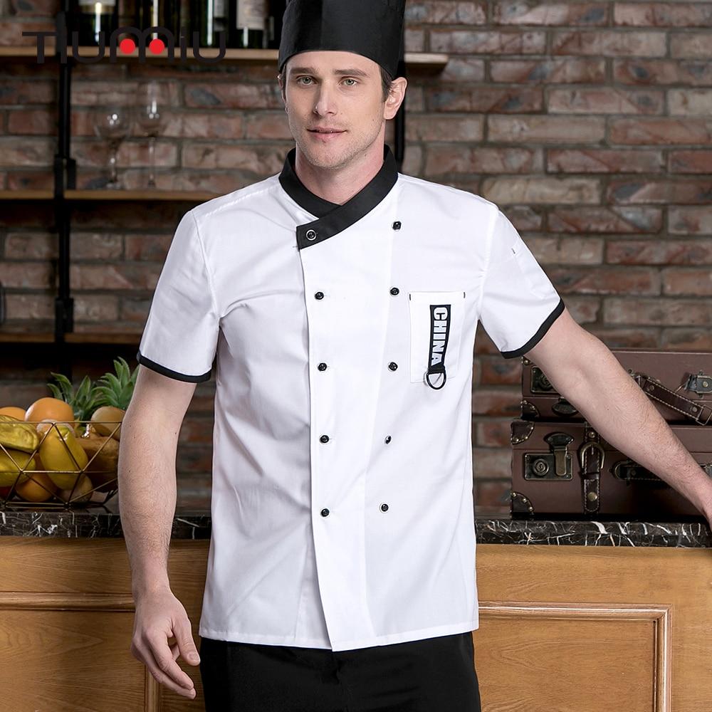 New Chef Jacket Short Sleeves Restaurant Uniforms Double-breasted Cuisine Cook Workwear Shirt Kitchen Work Clothes Men Women