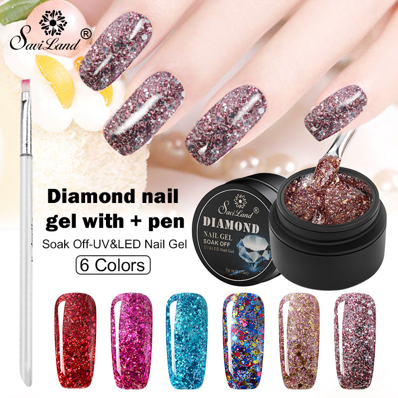 Saviland Super Shining Diamond Nail Art Gel Polish 6pcs Nail Gel + Gel Pen Glitter Starry Platinum Paint Gel Nail Varnish