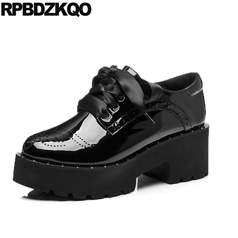 Thick Platform Round Toe Size 4 34 Casual High Heels Black Women Medium Footwear Lace Up Patent Leather Genuine Oxford Fashion парктроник parkmaster 4 dj 34 34 4 a black