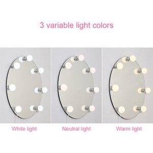 Image 5 - Vaidade led espelho luzes kit pode ser escurecido 10 lâmpadas de iluminação diy tira para maquiagem penteadeira estilo hollywood lâmpada led