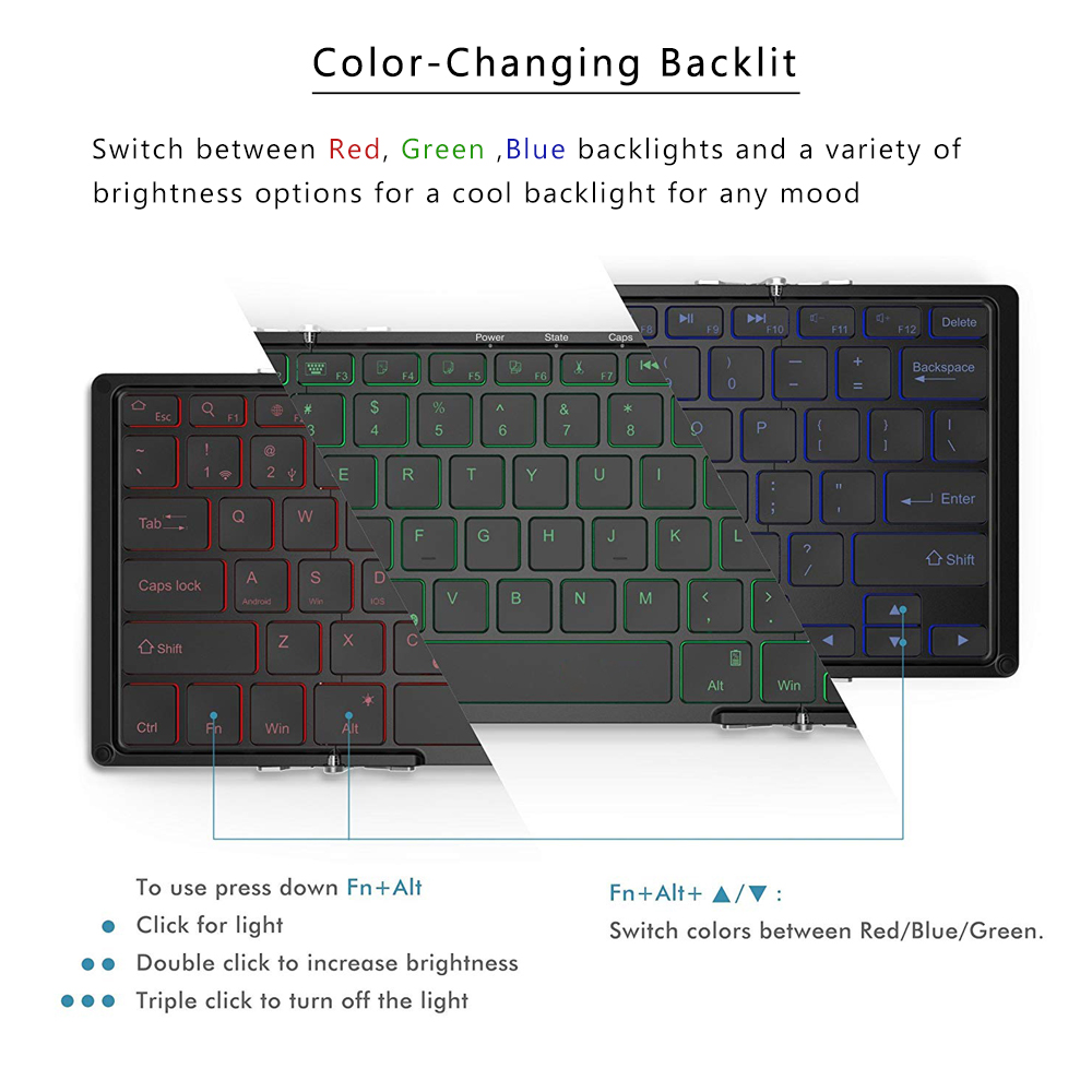 Image 5 - AVATTO Aluminum alloy Portable Folding Bluetooth Keyboard, BT wireless Backlit mini Tablet Keyboard For IOS/Android/Windows ipad-in Keyboards from Computer & Office