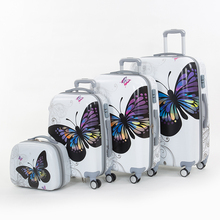 Wholesale!14 20 24 28inches pc butterfly travel luggage sets,4 pieces universal wheels trolley luggage sets for women