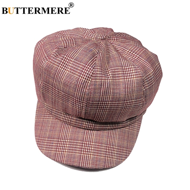 BUTTERMERE DE LA MUJER sombrero de algodón mono de cuadros rojo Octagonal  sombreros boina Mujer a a975e2df8318