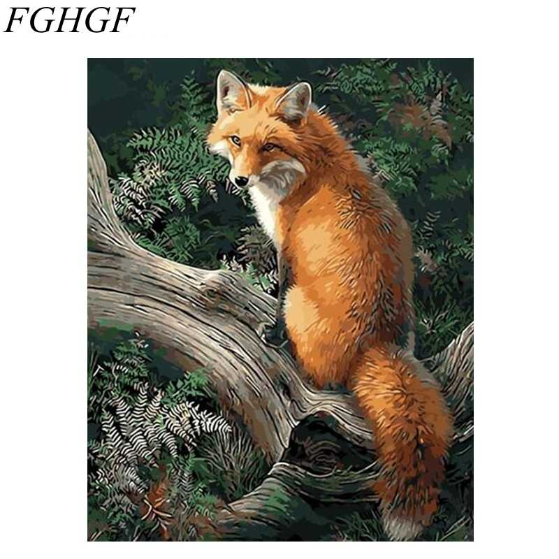 FGHGF Frameless Pictures Fox Painting By Numbers DIY Digital Canvas Oil Painting Europe Home Decoration Wall Art