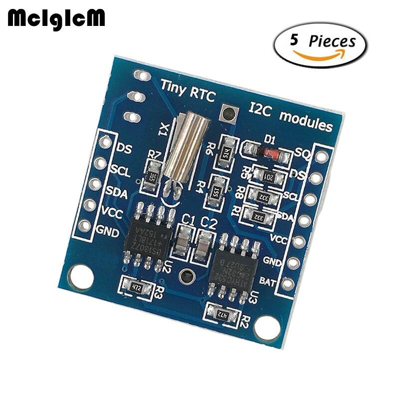 Mcigicm 5 шт. крошечный RTC I2C модули 24C32 памяти DS1307 RTC модуль без батареи