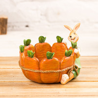 resin rabbit hold carrot basket modern home decors decorative easter ornaments creative rabbit key holder storage