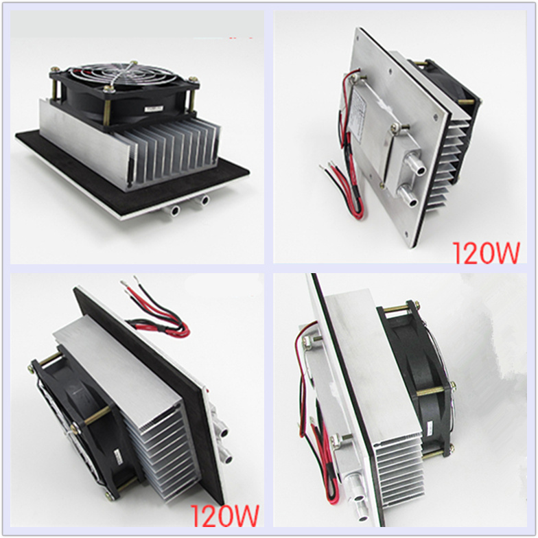 12V 120W Semiconductor electronic Peltier refrigeration Small air conditioning water cooling Aluminum radiator fan Space Cold refrigeration and air conditioning condenser cooling fan radiator cold ocean outer rotor motor ywf 4d 250 60w