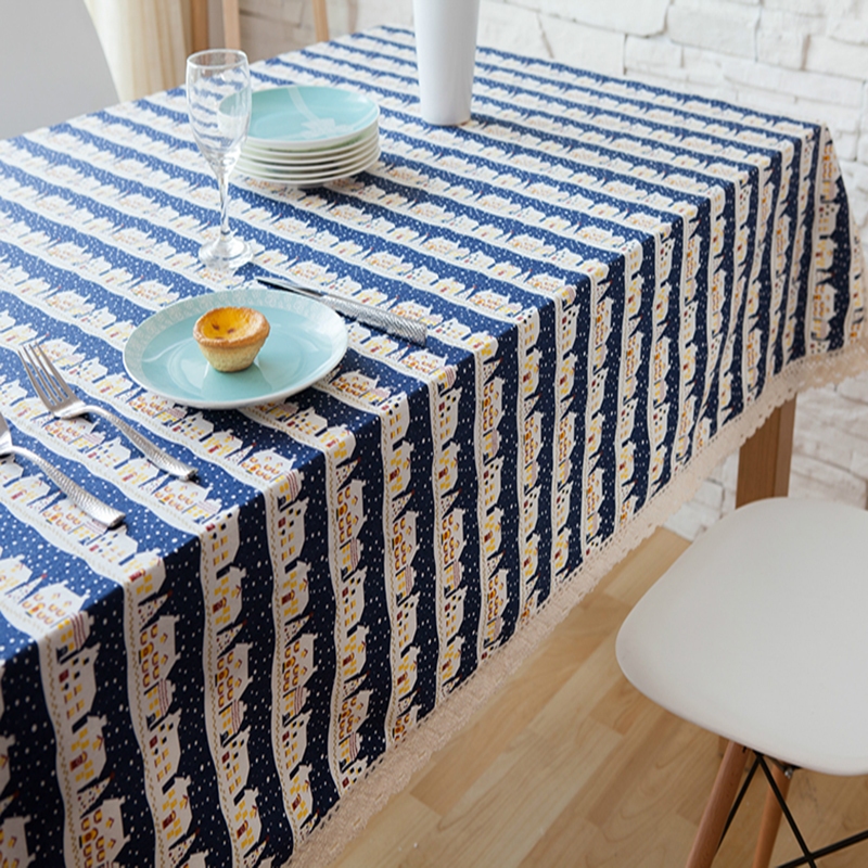 table cloth coffee tea table cloth castle scene scenic christmas linen cotton home hotel restaurant decoratio deal free shipping