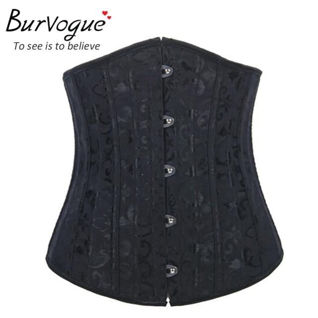 Burvogue venda quente preto/vermelho/branco osso de aço underbust corset mulheres osso de aço controle cintura bustier corselets xs-6xl