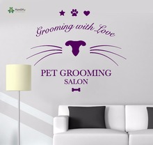 YOYOYU Vinyl Wall Decal Grooming With Love Pet Beauty Salon Lovely Art Modern Removable Home D Stickers FD365