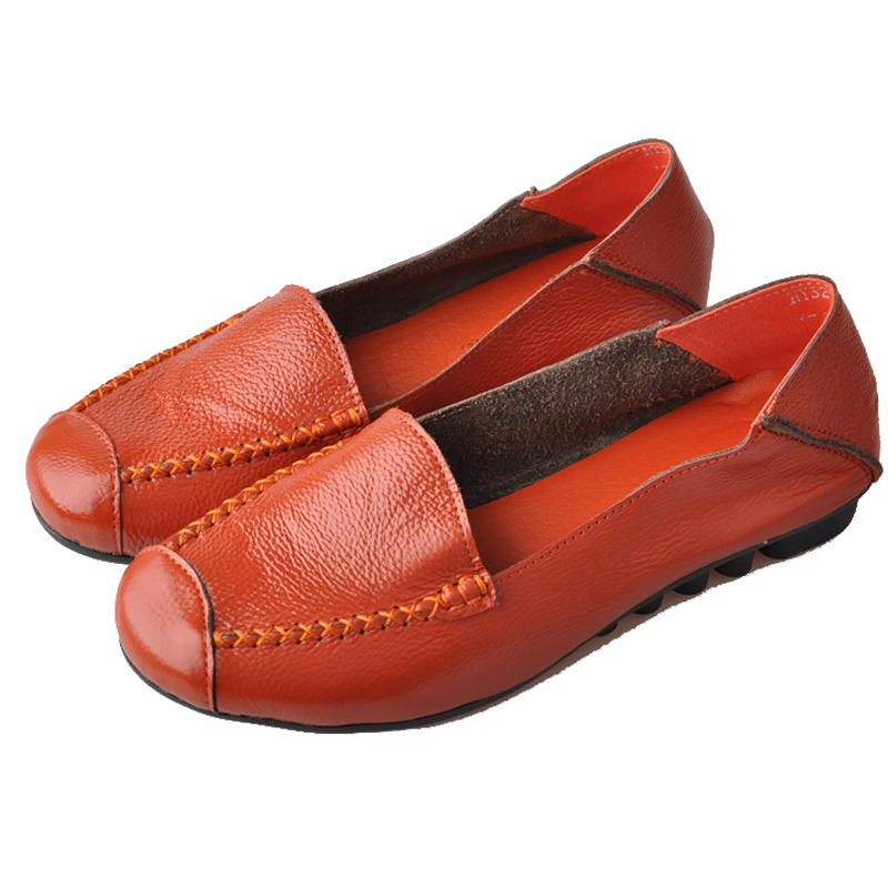New Women Genuine Leather Flat Shoes Round Toe Slip-on Women Flats Ladies Casual Flat Shoes Comfortable Loafers Size 22--26.5 CM spring summer women flat ol party shoes pointed toe slip on flats ladies loafer shoes comfortable single casual flats size 34 41