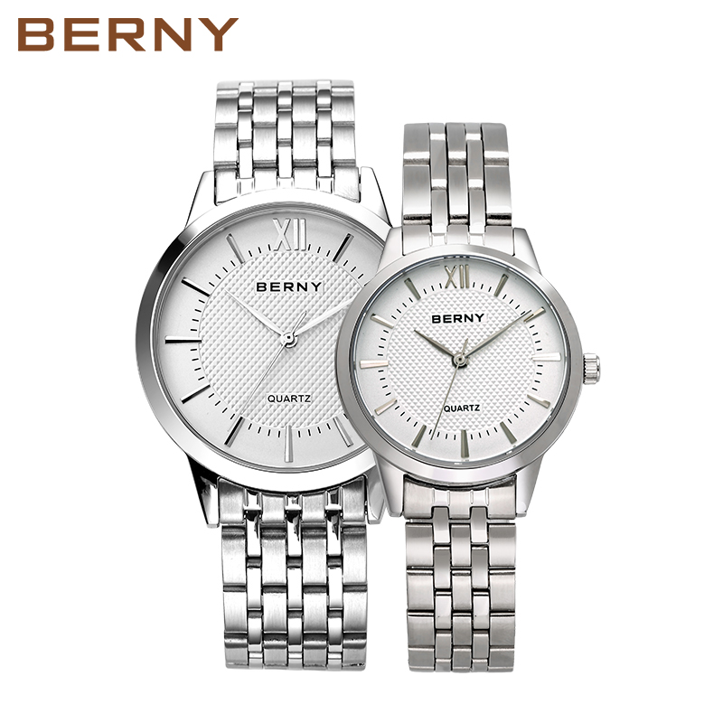 Branded Luxury Bracelet Lovers Watches Pair Women Men Watch For Couples 2017 New Silver Stainless Steel Casual Waterproof 2679 exquisite number patterns stainless steel cufflinks for men black silver pair