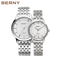 Branded Luxury Bracelet Lovers Watches Pair Women Men Watch For Couples 2017 New Silver Stainless Steel Casual Waterproof 2679