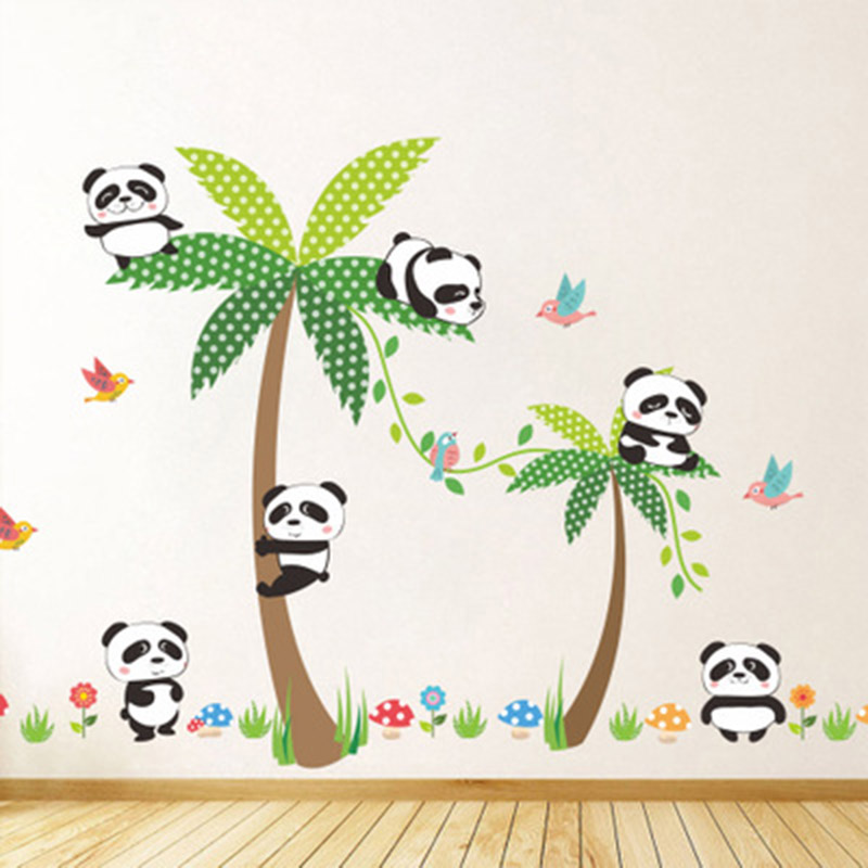 Encantador Dos Desenhos Animados Panda De Coco Árvore Cogumelo Grama  Pássaro Parque De Etiqueta Da Parede Part 52