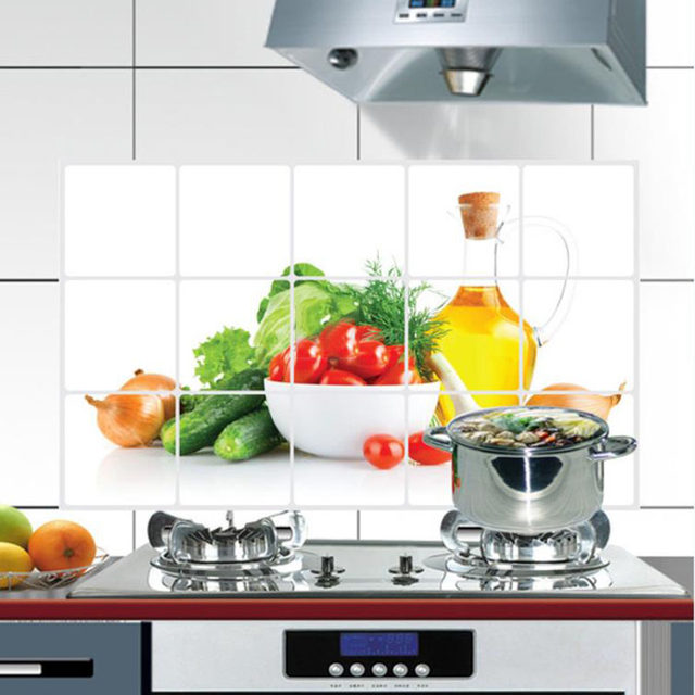 Online Shop New 3D DIY Oil-proof Kitchen Wall Sticker Green Fruits ...