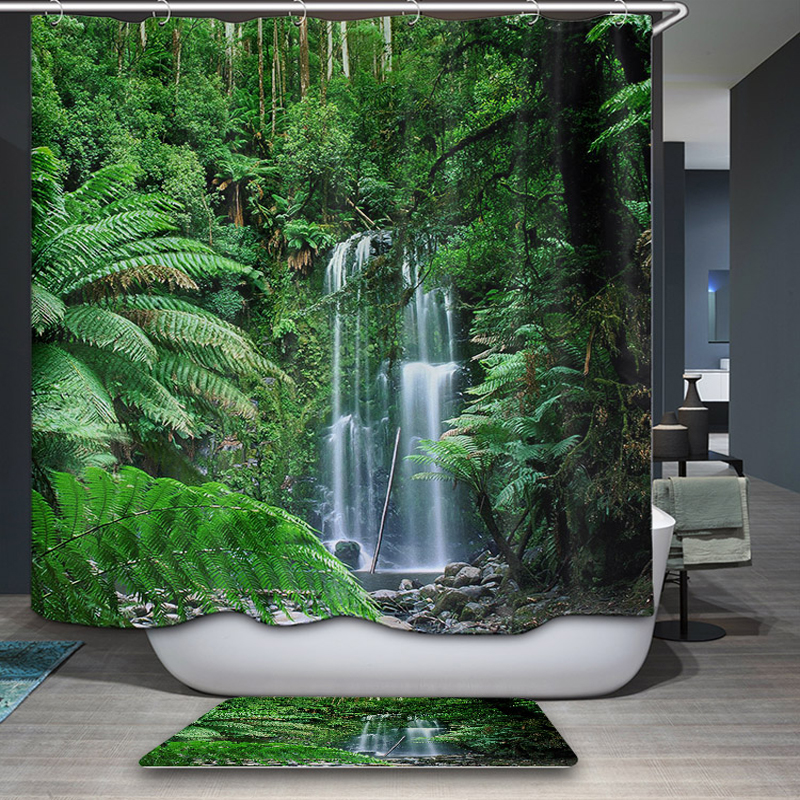 New Arrivals Shower Curtain Nordic Nature forest theme Scenic Pattern Shower Curtain Waterproof Bathroom Fabric Home decor