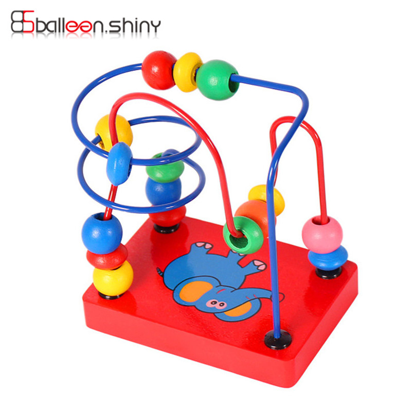 1 Pcs Mini Around Beads Baby Wooden Toy Educational Children Kids Infant Colorful Mini Cute Cartoon Elephant Gift Toy baby kids colorful wooden beads labyrinth maze game children toy wooden toy mini around beads wire maze educational game wj 094