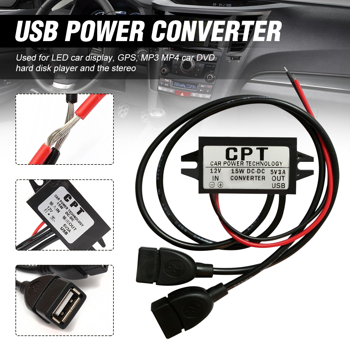 Dual Double 2 USB <font><b>DC</b></font>-<font><b>DC</b></font> <font><b>Car</b></font> <font><b>Converter</b></font> Module <font><b>12V</b></font> <font><b>To</b></font> <font><b>5V</b></font> <font><b>3A</b></font> 15W <font><b>Power</b></font> <font><b>Adapter</b></font> used for LED <font><b>Car</b></font> Display GPS Over Voltage Protection image