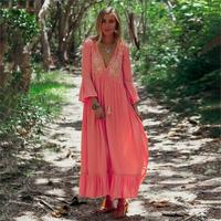 Pink Floral Embroidery Maxi Dress Women Chic V Neck Side Split Sexy Dress Gypsy Boho 2019 Beach Hippie Clothes Loose Long Dress