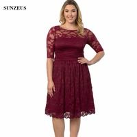 Half Sleeve Knee Length Lace Mother Of The Bride Dress A-line Scoop Neckline Burgundy Party Gowns For Big Women CM009