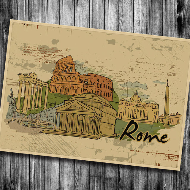 Free Ship! Rome Building Vintage Poster Poster Wall Sticker ...