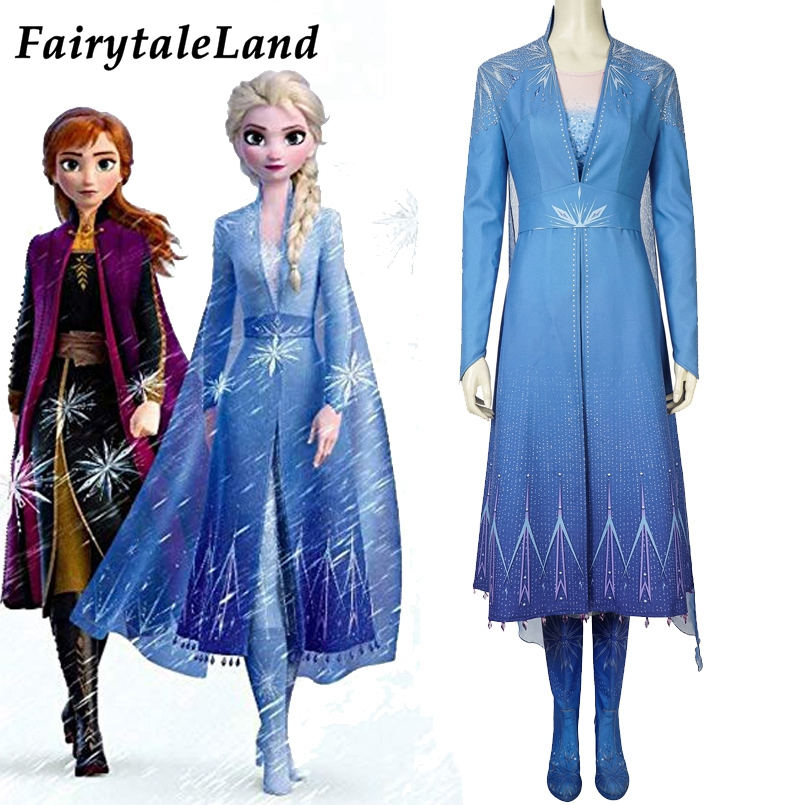Newest Elsa Cosplay Costume Halloween Disfraz Elsa Anna Dress Cosplay Boots Outfit Snow Grow Ice Queen Princess Costume