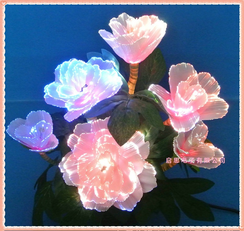 Fairy Optical Fiber Colorful Peony Flower with Fiber Optic Wire Spun Silk Plastic Novelty artistic home party Shop Decoration knitting of silk filament and spun silk yarn