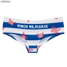 LEIMOLIS crab letters stripe funny print sexy hot panties female kawaii Lovely underwear push up briefs women lingerie thongs