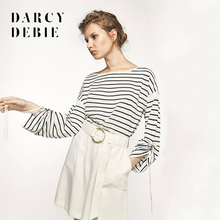 Darcydebie The new women's clothing leisure pleats design cape style striped knit sweater women Europe and America