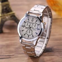 CLAUDIA Freeshipping Males And Ladies Basic Enterprise Quartz Watch Stainless Metal Strap saat erkekler reloj hombre Fabulous