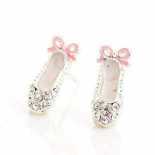 2017 Hot Sale Gambar Kristal Sepatu Balet Anting Brincos Baru Pentacle Pendant Sepatu Stud Untuk Wanita Fashion Perhiasan E058