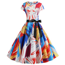 купить New 2019 Fashion Color Print Cute Party Dress Summer Dress Women Sleeveless O Neck Casual Elegant Dresses Vestidos по цене 1135.24 рублей
