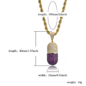 Image 5 - JINAO Hip Hop Fashion Jewelry Pill Necklace Can Open Capsules Pendant Cubic Zircon Copper Necklace Iced Out Detachable Unisex