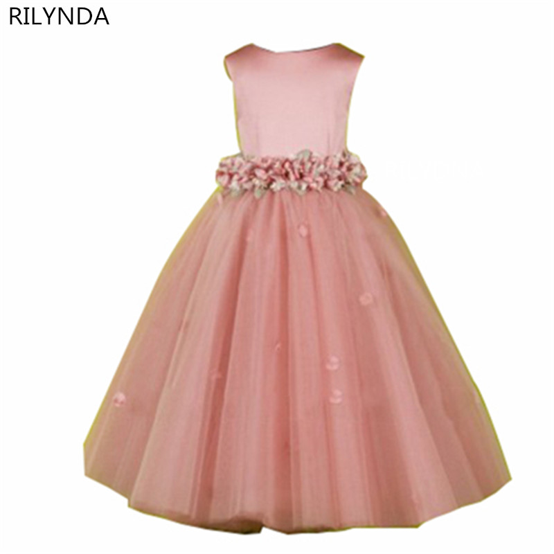 Pink Flower Girl Dresses Special Occasion For Weddings Kids Pageant Gowns A-Line Lace Appliqued First Communion Dress