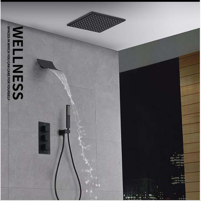 Ceiling Mounted Oil Rubbed Bronze Rainfall Shower Head Faucets Thermostatic Valve Hand Shower Sprayer Square Top Shower Sprayer