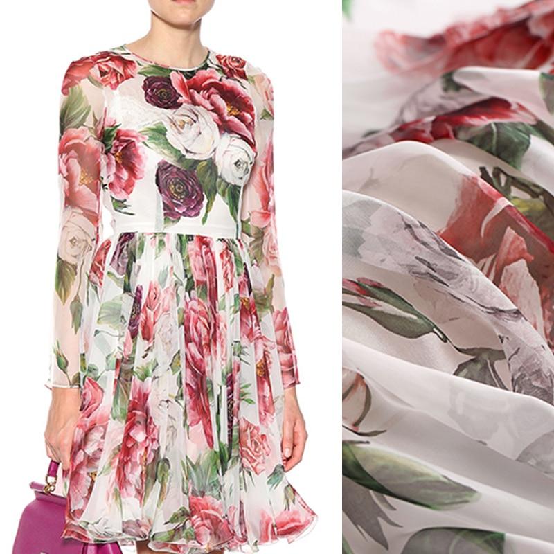 140 CM 8 MM grand rouge Rose imprimé Floral mince blanc en mousseline de soie tissu pour robe d'été Blouse jupe chemise écharpe E762