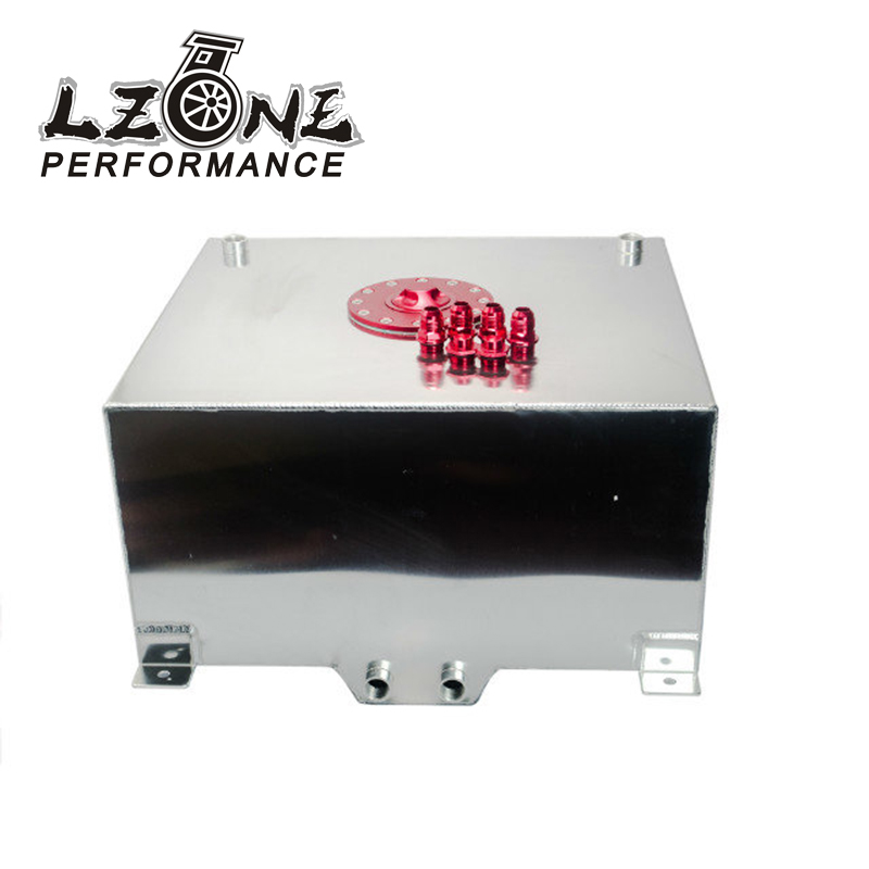 LZONE RACING - 15 GALLON/56.8L RACING ALUMINUM GAS FUEL CELL TANK WITH BILLET RED CAP JR-TK72 lzone racing black aluminium fuel surge tank with cap foam inside fuel cell 40l without sensor jr tk21bk